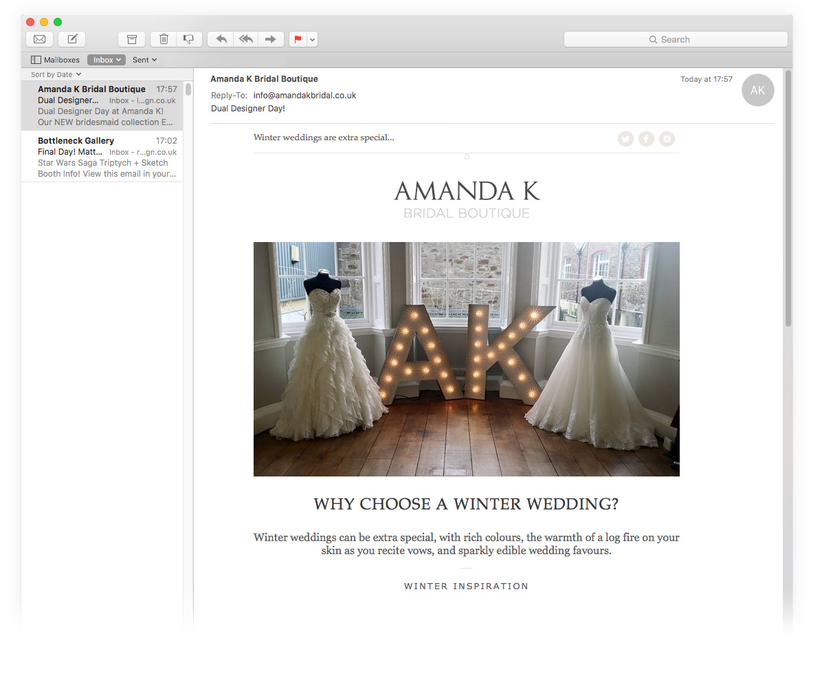 Amanda K Bridal Cornwall Email Marketing